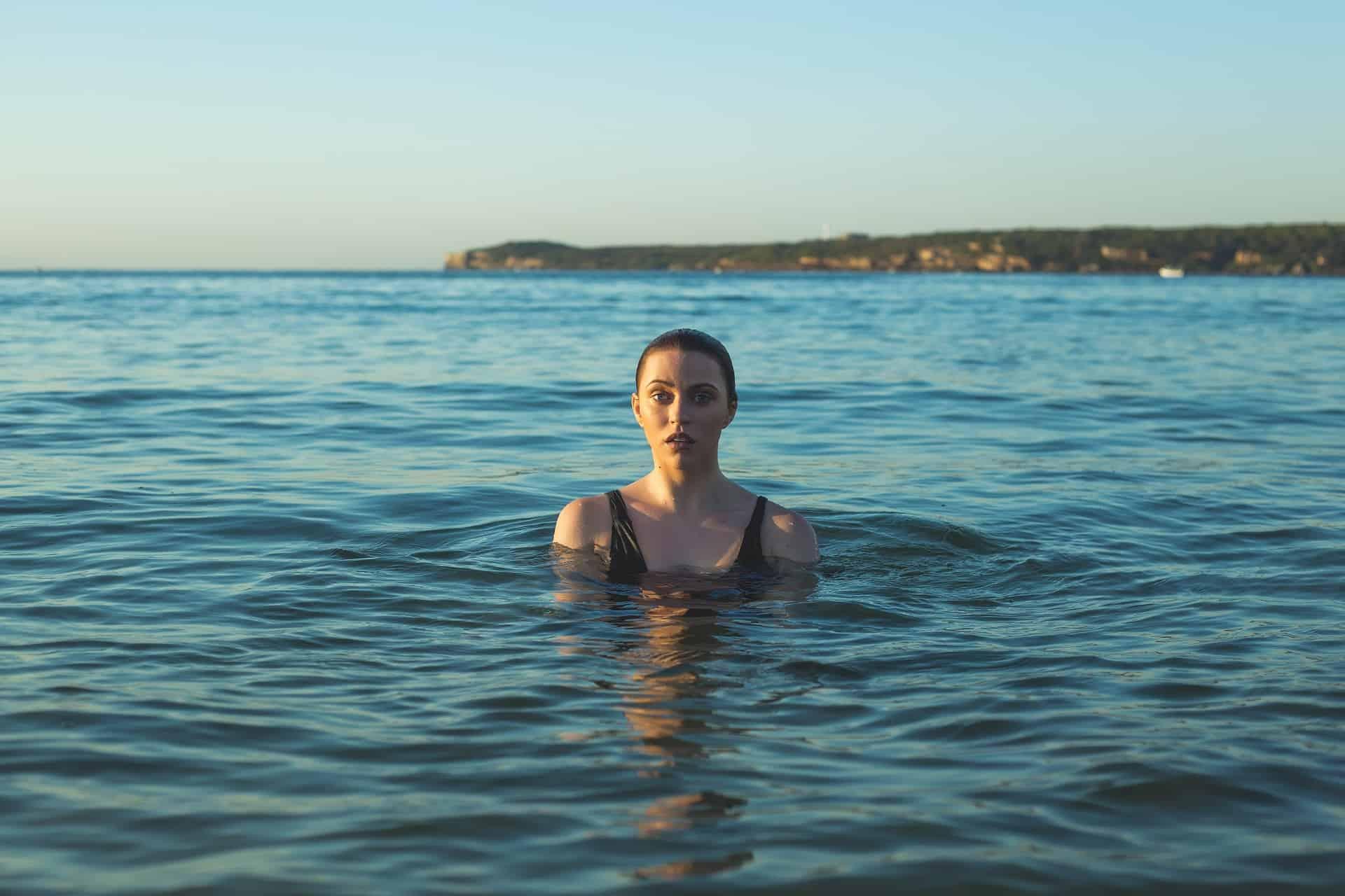 woman treading water