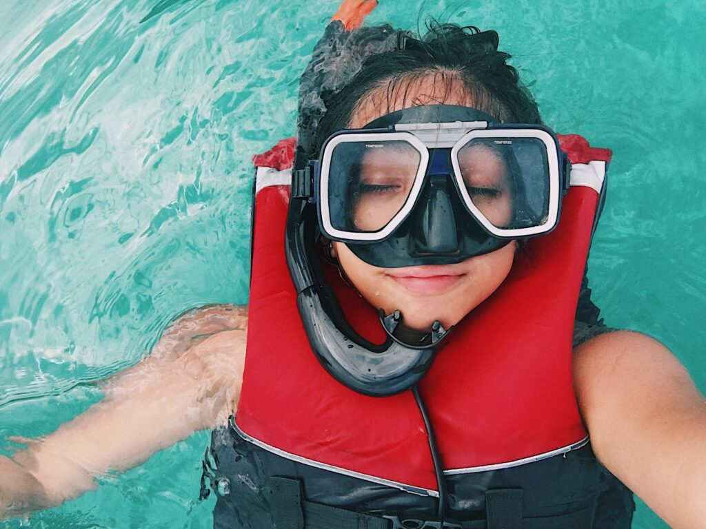 Woman with a snorkel