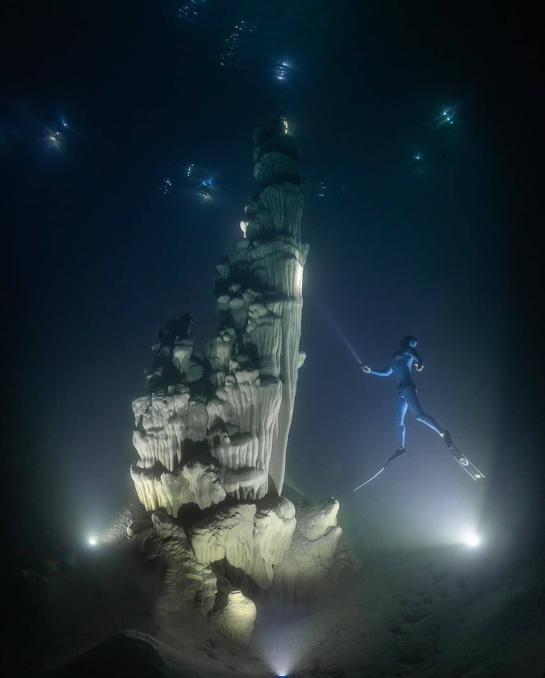 Underwater formation photo by Andre Musgrove with freediver Johnny Deep