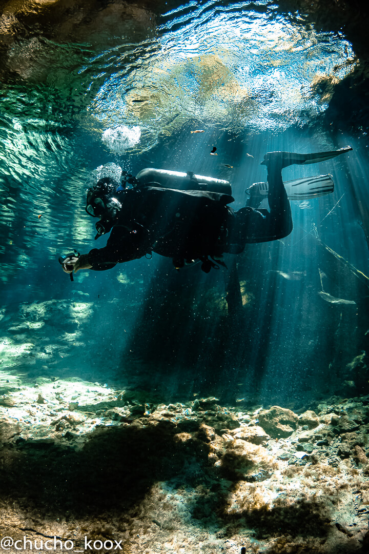 Diver in a horizontal position clear crystal water